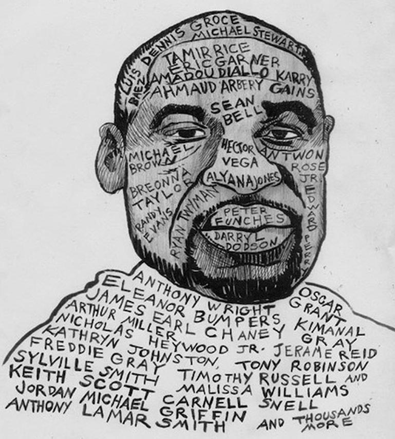 Artist and activist Tom Keough memorialized George Floyd, and added names of Black and Brown men and women also murdered by the police.